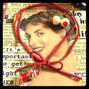 Red tie gum-ball charm & Betsey pearl earrings